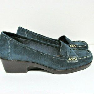 Womens Blue Suede Penny Loafer Wedge Shoes Size 7